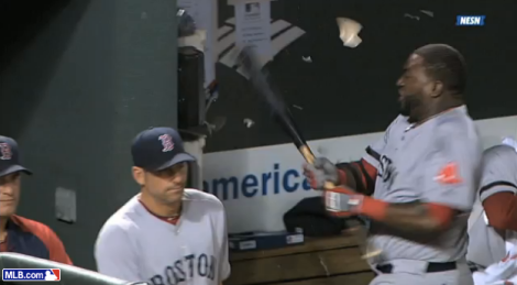 [Prior to the game: the destined-to-be famous David Ortiz phone smash]