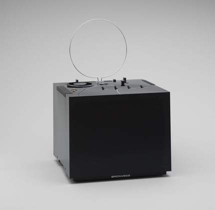 [black 201 television set designed by marco zanuso for brion-vega; part of the DESIGN SINCE 1945 exhibition]