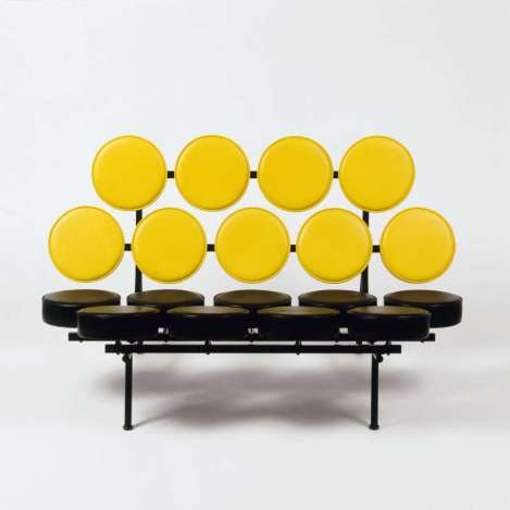 [the marshmallow sofa designed by george nelson office, 19XX, for herman miller co.; part of DESIGN SINCE 1945 exhibition]