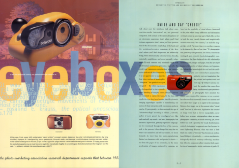 "[the opening spread of the ""infoscape"" column devoted to cameras—and how they have changed the way that we see]"