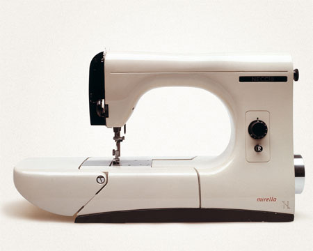 "[""marella"" sewing machine designed by marcello nizzoli, 1957, for necchi; part of the DESIGN SINCE 1945 exhibition]"