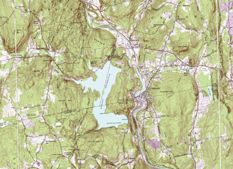 [topo map of nepaug reservoir area, ye olde stomping ground, especially the east-side shoreline, where The Young Professor laid his sleeping bag under the same pine tree, night after night]