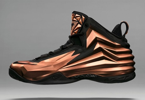 unfolds [the angular chuck posite just released by nike is based on folds of metallic copper material]