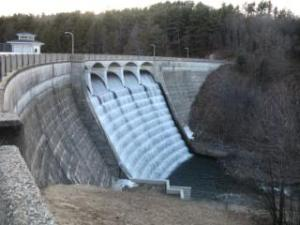 [the dam at nepaug reservoir, water flowing over the spillway, forming the stream that The Young Professor swam in]