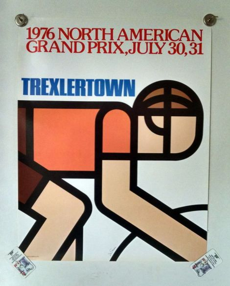 [abstracted cycling icons typified the mid-1970s posters done for thge velodrome at trexlertown, pennsylvania, similar to The Young Professor's own poster taped-up near his hospital bed]