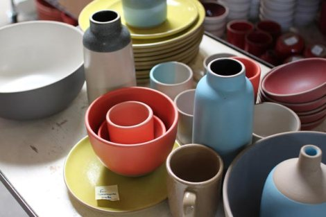 [the colorways of heath ceramics have always had nature as their inspiration although more recent piecs have been offered in lighter and brighter shades]